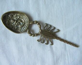 Unusual antique/vintage cast brass scorpion spoon, finely detailed bowl. Zodiac decor gift for a Scorpio, Goth. Bohemian decor, housewarming