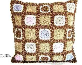 Crochet Granny Pillow, Handmade Pillow, Brown Pillow, Cuscino uncinetto