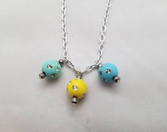 Blue Yellow Green Silver Chain Choker Necklace