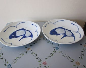 "Chinese Blue Cobalt Koi Fish 2 Dinner Plates 10 1/4 "" Hand Painted Details Vtg Chinese Markings"
