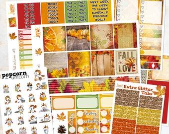 Fall in Love Autumn set / kit weekly stickers - Erin Condren Horizontal Planner - leaves woods September October November
