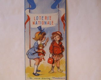 "French National Lottery Board / cardboard advertising signed ""Poulbot"" / antiquityfrench/cardboard advertising ""Poulbot"" / advertising Muller / girls"