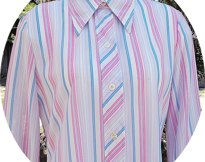 Deadstock Vintage 70s MOD Bodin Knits Preppy Secretary Blue Pink White Striped Polyester Womens Long Sleeve Blouse Shirt Top 13/14