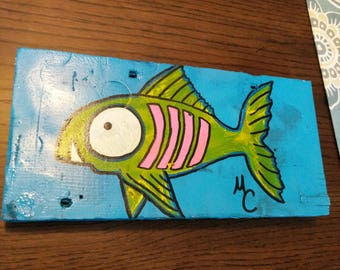Tropical lemon lime fish folk art painting on 110 year old reclaimed wood