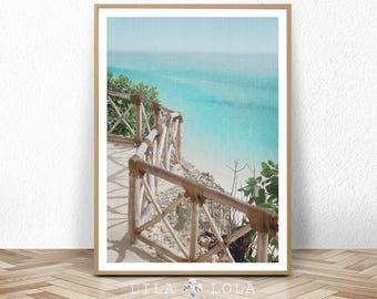 Beach Coastal Wall Art Decor, Beach Photography Print, Large Printable Digital Download, Ocean Water, Blue Turquoise, Beach Coastal Decor