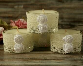 Hand poured candles, lace wedding gift, boho wedding decor, shabby chic, white candle holder, candles handmade, anniversary gift, boho decor