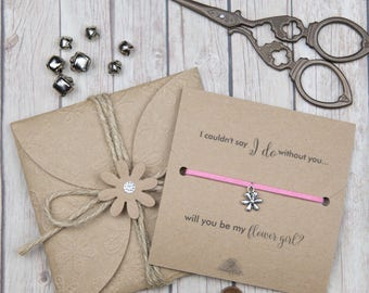 Flower girl gifts - bridal party gifts - custom friendship bracelets  - I couldn't say I do - will you be my flower girl?