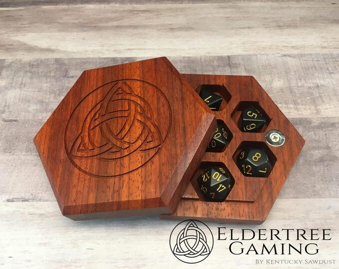 Premium Dice Vault - Hexagon Shape - Padauk - Eldertree Gaming