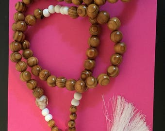 Wooden white tassel necklace beads
