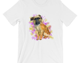 Watercolor Brussels Griffon Dog Short-Sleeve Unisex T-Shirt