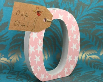Sweet Pink with Starts Wooden Nursery Letter, 13cm Height Free-standing