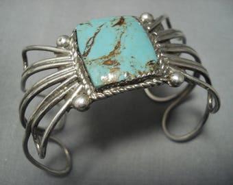 Vintage Navajo Squared Turquoise Sterling Silver Bracelet Old Pawn
