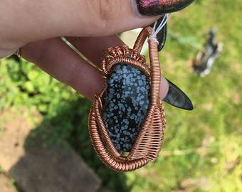 snowflake obsidian stone copper wire wrap