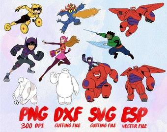 10 Disney Big Hero 6 SET , SVG Cutting , ESP Vectors files , T shirt , iron on , sticker ,Personal Use