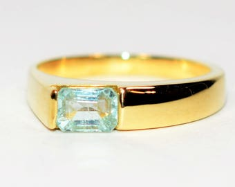 40% OFF SALE with free limited resizing!! Modern .65ct Untreated Paraiba Tourmaline 14kt Yellow Gold Ring