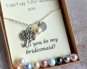 7 set of bracelets Tree of life jewelry set of 7 Bridesmaid set of 7 Personalized jewelry set of 7 Bridesmaid gift set Bridesmaid bracelets