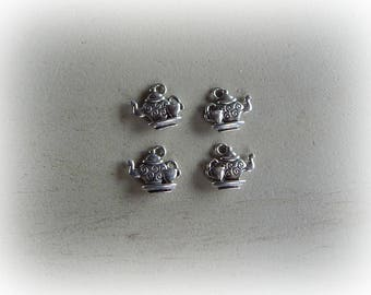 4 charms 15 * 13 mm silver plated teapot