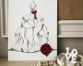 Bridal Illustration-Morilee ballgown with red bow and red rose bouquet Illustration