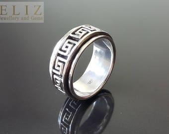 SOLID .925 Sterling Silver Men's Ring Spinner Anti Stress Fidget Meditation Kinetic SIZE 9.75