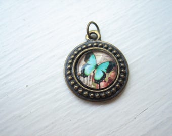 Butterfly pendant, glass butterfly, blue butterfly, glass cabochon butterfly, antiqued bronze butterfly