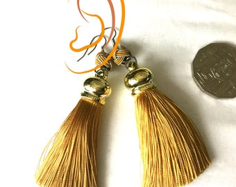 Golden Tan Tassel Earrings, Beaded Tassel Earrings, On Trend Gift, Stylish Gift, Girlfriend Gift, Trendy Thank You Gift, Earrings Silver