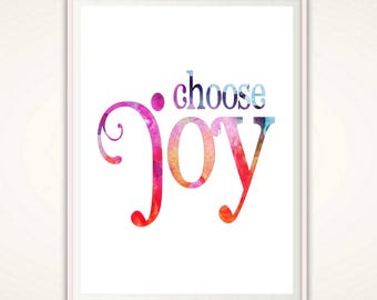Choose Joy Print - Choose Joy PRINTABLE, Choose Joy Sign, Wall Art, Quote Print, Inspirational Quote, Dorm Wall Art, Digital Art Print, PDF