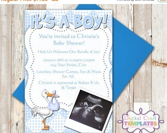 SALE It's a Boy Stork, Printable Invitations, Personalized Invitation, Baby Shower, #444