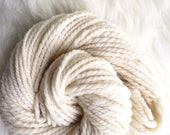 Handspun 2-Ply Charollais Wool Yarn 3oz 84 yds, Yarn for Weaving, Knitting, Crochet, Handspun Yarn, Natural Cream Ivory White, Bulky Yarn
