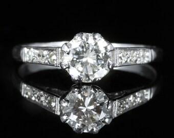 Antique Edwardian Diamond Solitaire Engagement Ring Circa 1910 Platinum