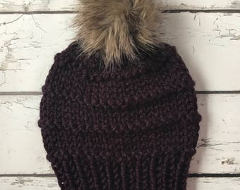 Knit Hat, Chunky Knit Hat, Bulky Knit Hat, Faux Fur Pom Pom Hat, Winter Hat, Knit Hat With Pom Pom, Hand Knit Hat