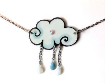 Handmade jewelry, Gift for her, Raindrop pendant, Fluffy cloud jewelry, Weather necklace,  White