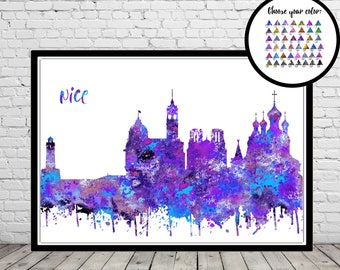 Nice, Nice skyline, Nice France, watercolor Nice, Nice print, France, watercolor City Print, Office Art (3527b)