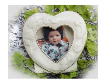 ceramic heart frame -Heart picture frame - heart picture holder - wedding picture frame - china heart picture frame 117 #