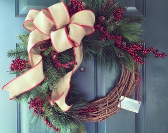 Winter Neutral Wreath/ RED berries