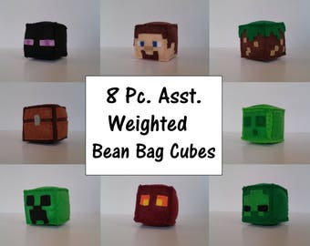 Minecraft Cube Party Game Bundle, All 8 Blocks, Party Favor, minecraft plush, stuffed plush, minecraft birthday, minecraft party favor, MTO