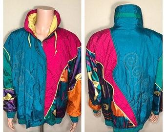 BIG SALE Venezia Vitale Rainbow windbreaker // 80s 90s bright colors // Zip up track jacket // Vintage windbreaker // Bomber hiphop jacket /