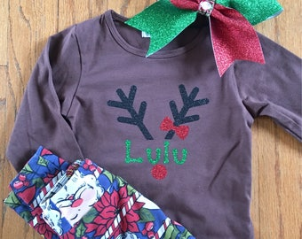 Rudolph Girl Personalized Name Shirt tee Toddler Santa Holiday Christmas Season adorable sparkly glitter clothing fashion custom Reindeer