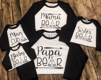Mama Bear Papa Bear and Baby Bear Matching Family Shirts - Christmas Pajamas Holiday Raglan - Arrow - Teepee - baseball style - black white