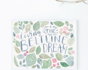Leafy Green Beltline Dream Print of Watercolor Painting