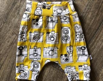 Harem Shorts, baby shorts, kids shorts, beach wear, bummies, boys shorts, vintage, hip apparel, kids apparel, yellow, camera, bloomers