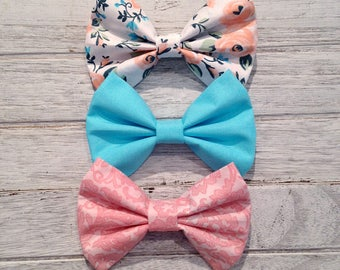 SUMMER HAIRBOW SPECIAL***Floral Hairbow, Pastel Hairbow, Baby Blue Hairbow, Toddler Hairbow, Baby Fabric Bow, Baby Headband, Hairclip