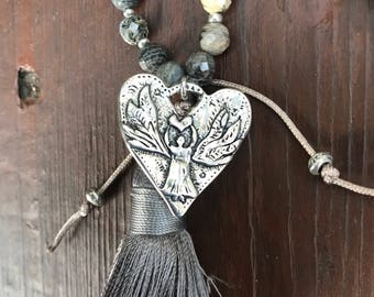 Necklace, tassel necklace, heart necklace, beaded necklace, angel necklace, long necklace, sterling necklace, leather necklace