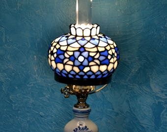 Oil lamp Tiffany. Stained glass home decor. Handmade table lamp. Lampshade. Bedside lamps. Antique lamp. Stained glass art Tiffany Desk Lamp