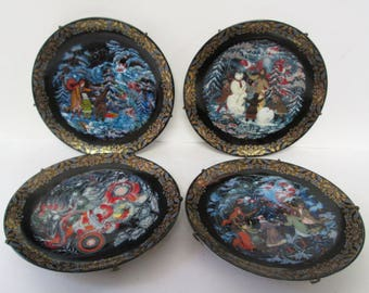 Tale of Father Frost Russian Collector Plate Set Lot 4 Bradex Byliny Porcelain