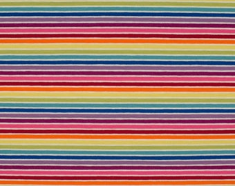 Yarn Dyed Multicolour Rainbow Stripes, White - Cotton Lycra Jersey Knit Fabric