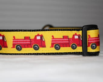 """1"""" Red Fire Truck Dog Collar - Side Release Buckle (1"""" Width) - Martingale Option Available"""