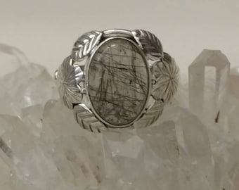 Black Rutilated Quartz Ring, Size 7