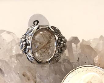Rutilated Quartz Ring, Size 8
