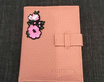 Pink Passport Holder With Floral Embellishment