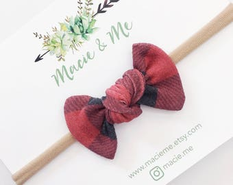 Black and Red Gingham Tied Bow / Tied Bows / Modern Bows / knot bow / Macie and Me